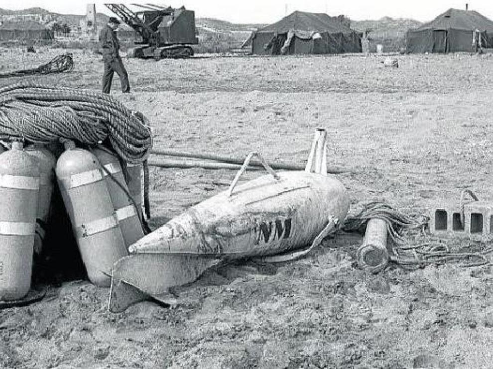 Una de las tres bombas radioactivas que cayeron en tierra firme sobre Palomares.