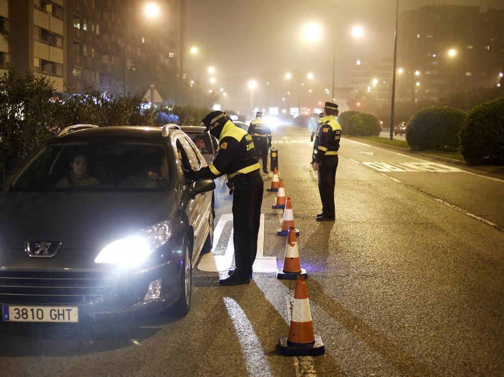Control de alcoholemia de la Policía Local de Zaragoza.