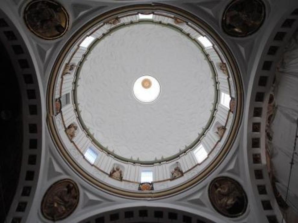 Imagen de la cúpula de la Colegiata de Santa María de Calatayud rehabilitada.
