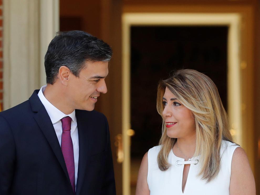 Pedro Sánchez y Susana Díaz, antes de la reunión que han mantenido este lunes.