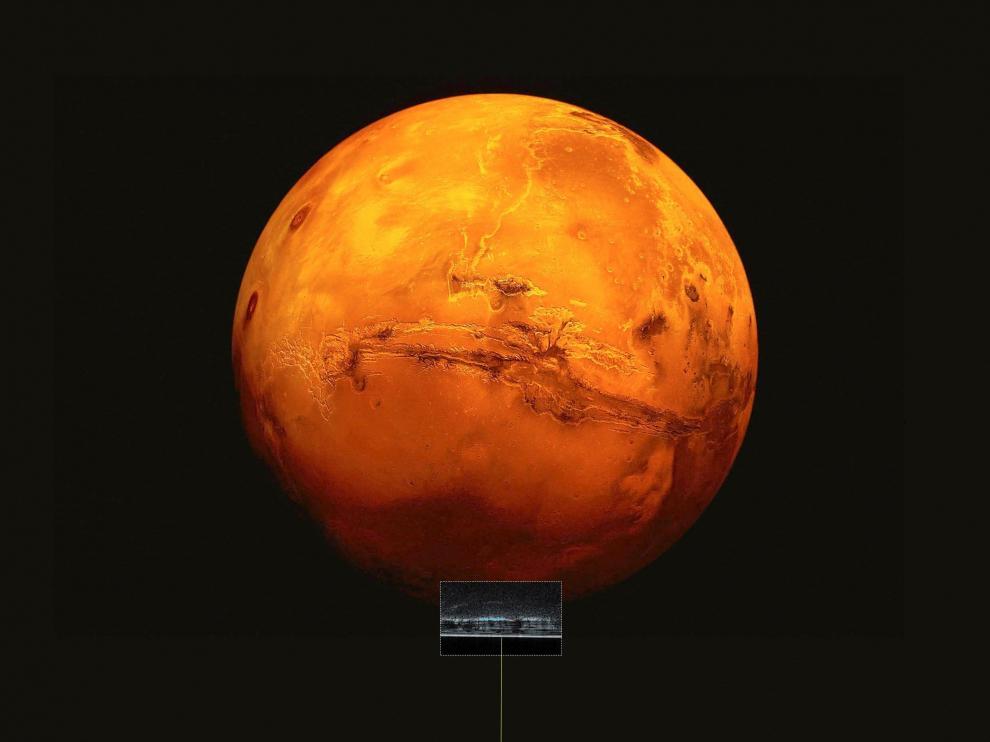 Fotografía facilitada por la Agencia Espacial Europea (ESA), de la reproducción artística de la sonda Mars Express que explora el hemisferio sur de Marte.