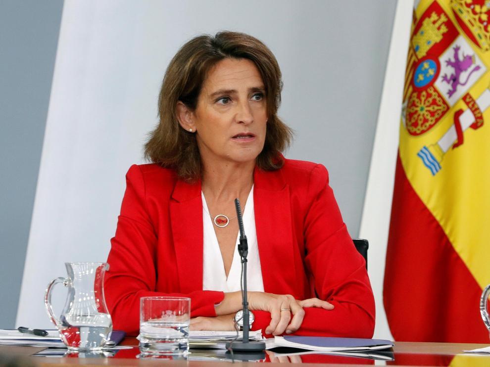 La ministra para la Transición Ecológica, Teresa Ribera, durante la rueda de prensa.