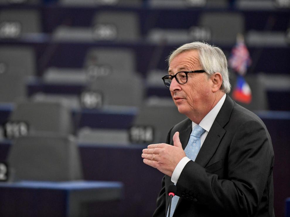 El presidente de la Comisión Europea, Jean-Claude Juncker, durante su discurso en el Parlamento Europeo.