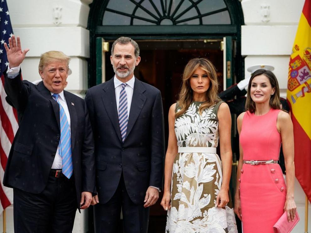 19 DE JUNIO. Reunión de los reyes don Felipe y doña Letizia con el presidente de los EE.UU. Donald Trump y su esposa Melania, durante un viaje oficial de los monarcas a Estados Unidos
