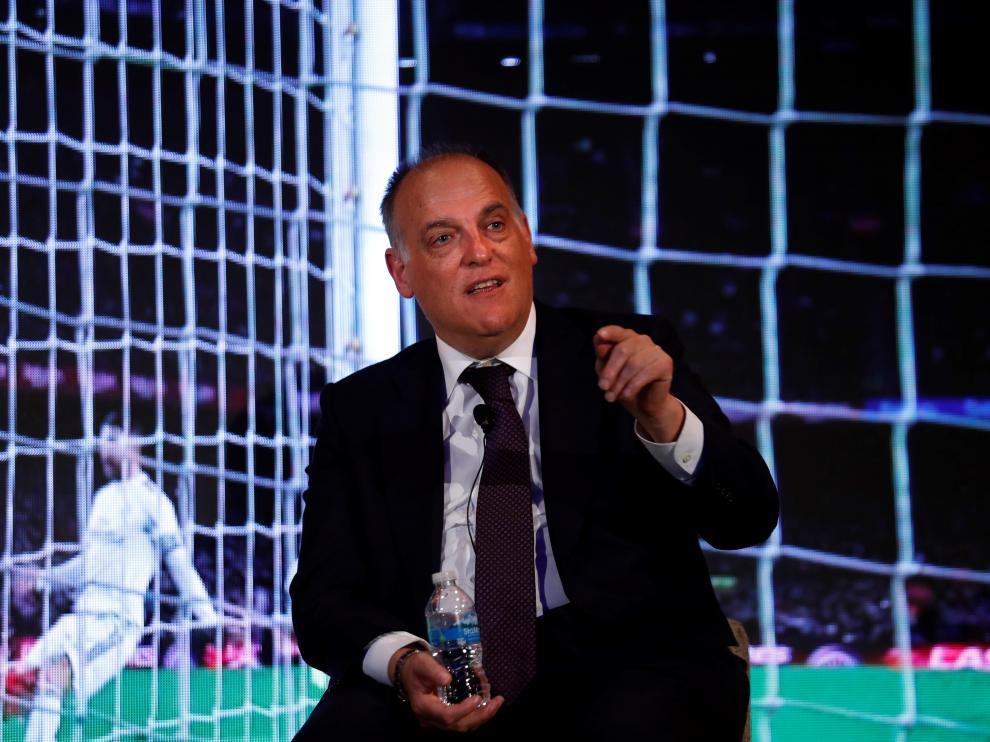 Javier Tebas, presidente de la LFP, durante un reciente acto en Ciudad de México.