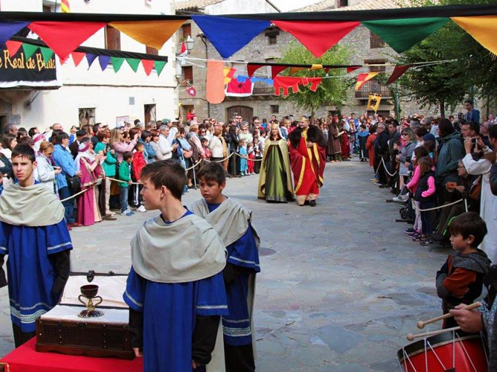 Imagen de la úlima edición de la recreación de la estancia del Santo Grial en Bailo.