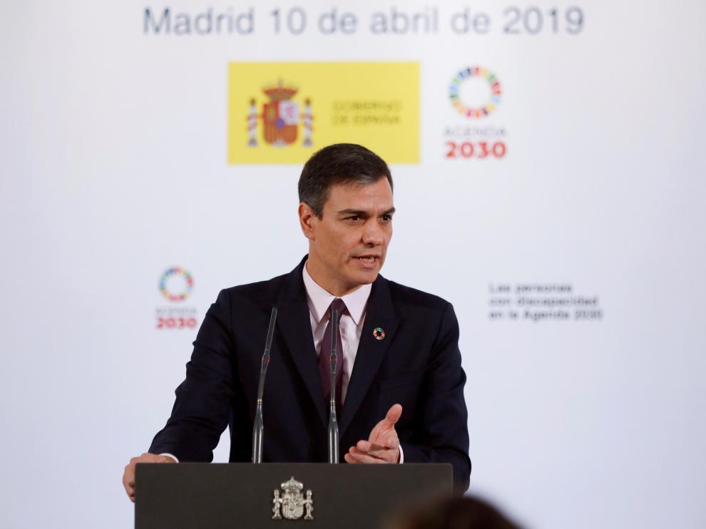 El presidente del Gobierno, Pedro Sánchez, durante la presentación del acto 'Las personas con discapacidad en la Agenda 2030'.