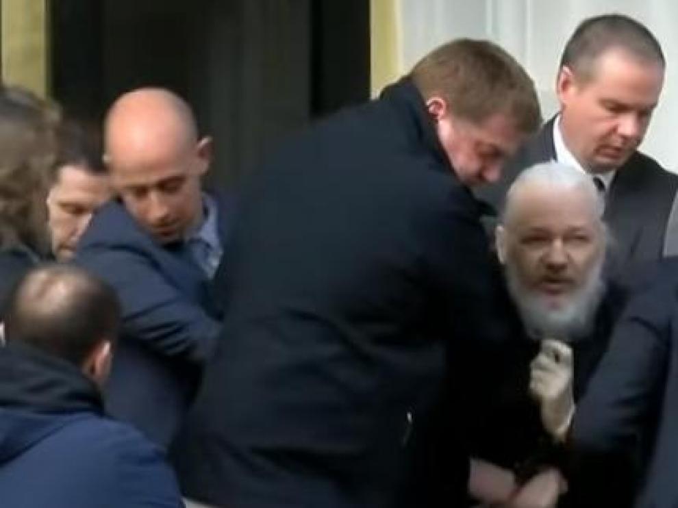 Julian Assange, en el momento de su detención