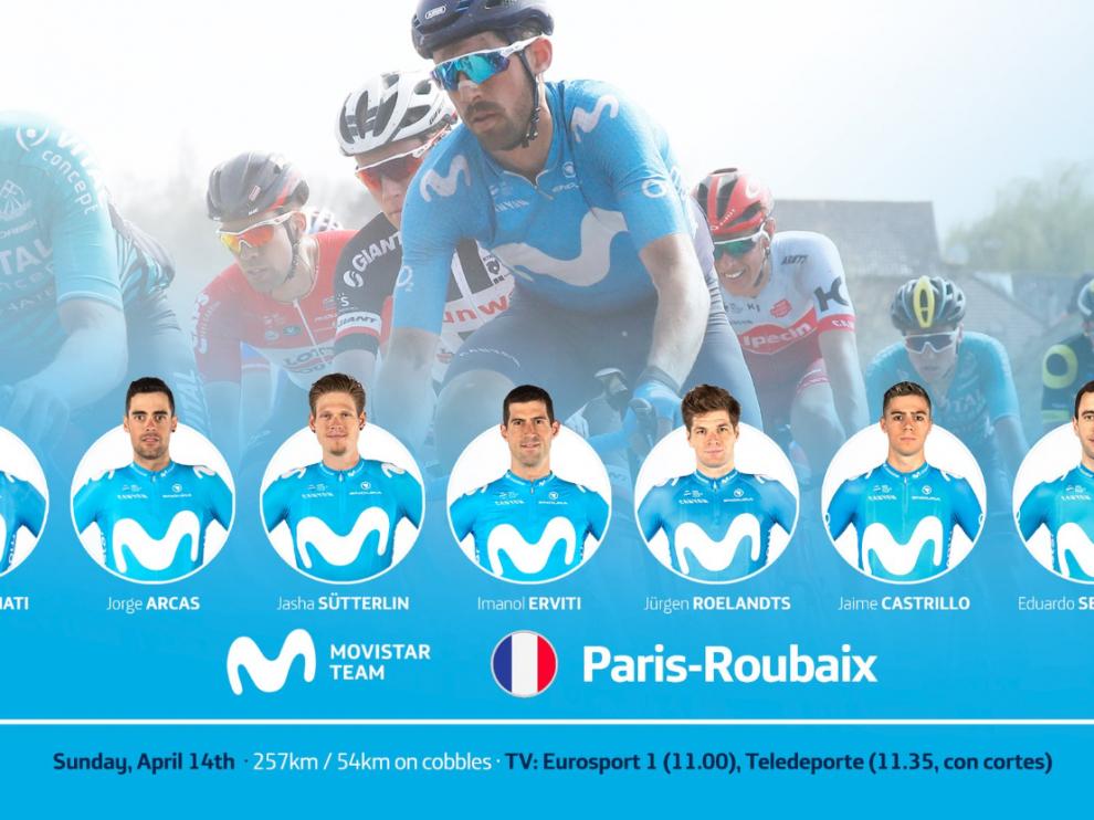 Cartel con el que Movistar Team ha anunciado su '7' para la Roubaix 2019.
