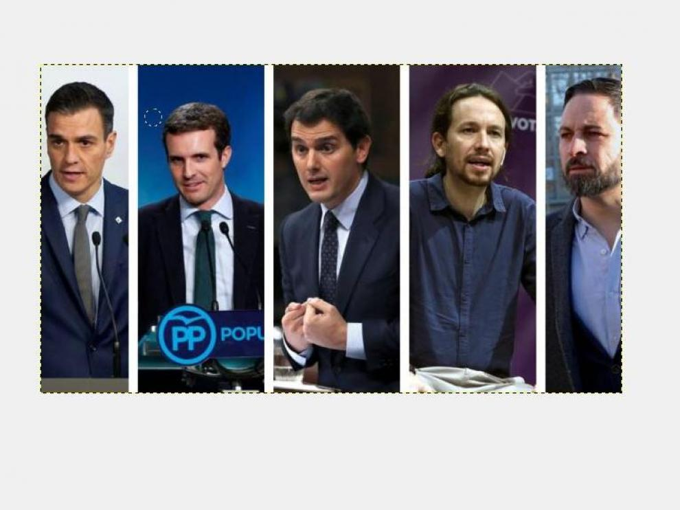 Sánchez, Casado, Rivera, Iglesias y Abascal.