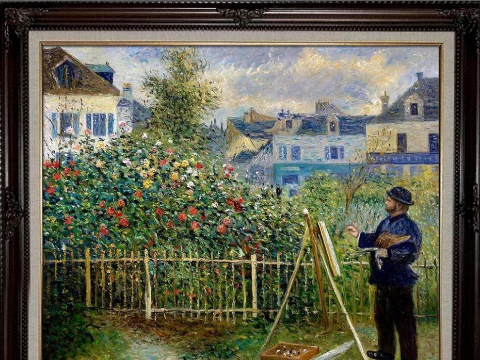 Monet pintando en su jardín en Argenteuil