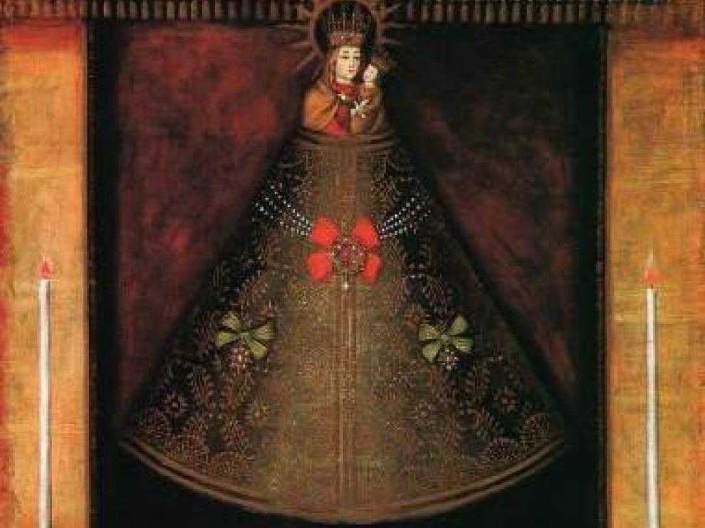 Pintura del siglo XVI que muestra la talla de la Virgen del Pilar