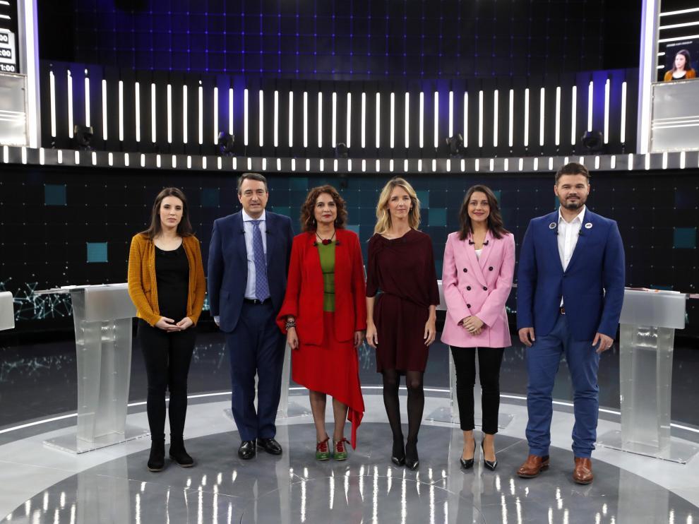 Los representantes de Unidas Podemos, PNV, PSOE, PP, Cs y ERC en el debate de RTVE.