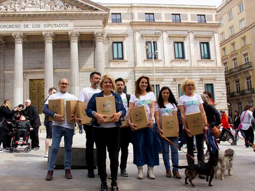 Pacma presenta los avales para las elecciones europeas.