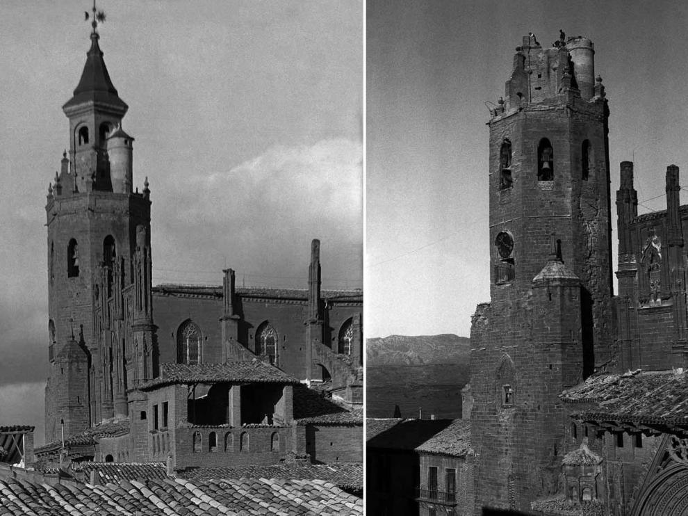 La catedral antes y después del incendio del chapitel.