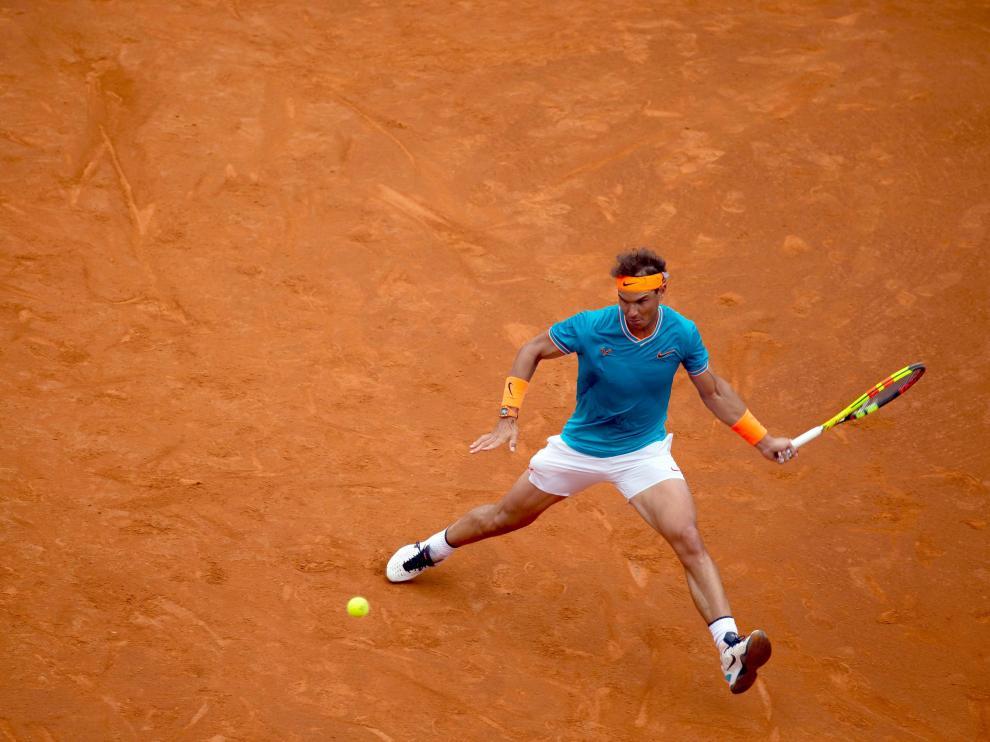 Rafa Nadal durante el partido de tercera ronda del Barcelona Open Banc Sabadell ante David Ferrer.