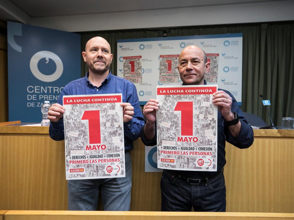 Manuel Pina y Daniel Alastuey, secretarios generales de CC. OO. y UGT Aragón, llamando a la movilización masiva este Primero de Mayo