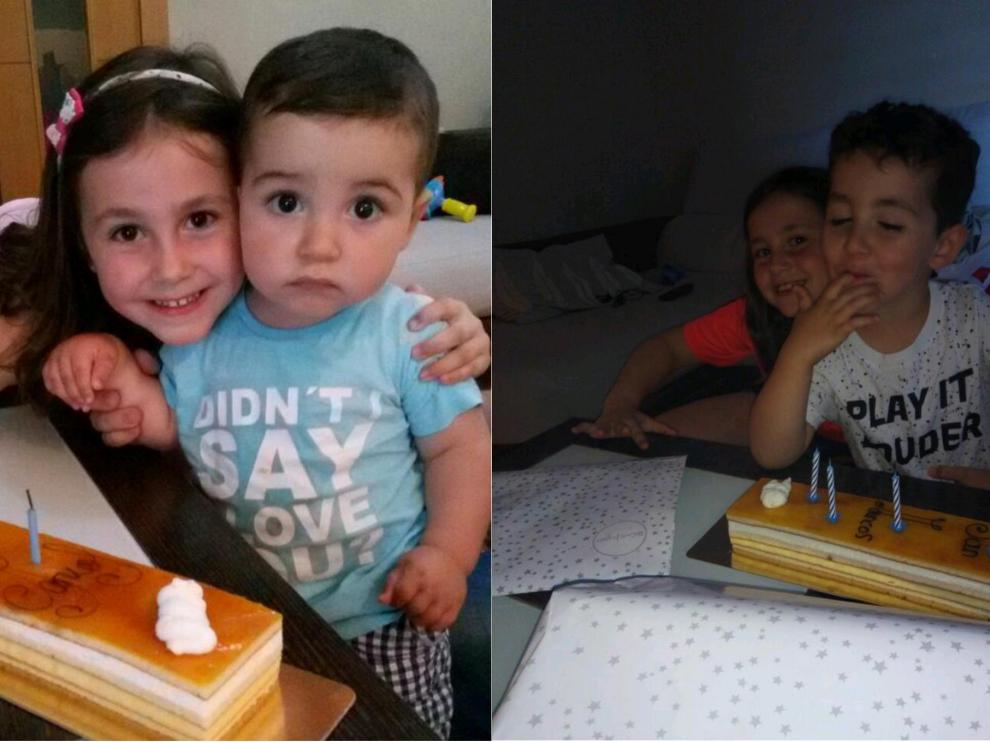 Marcos y su hermana, en el primer y cuarto cumpleaños.