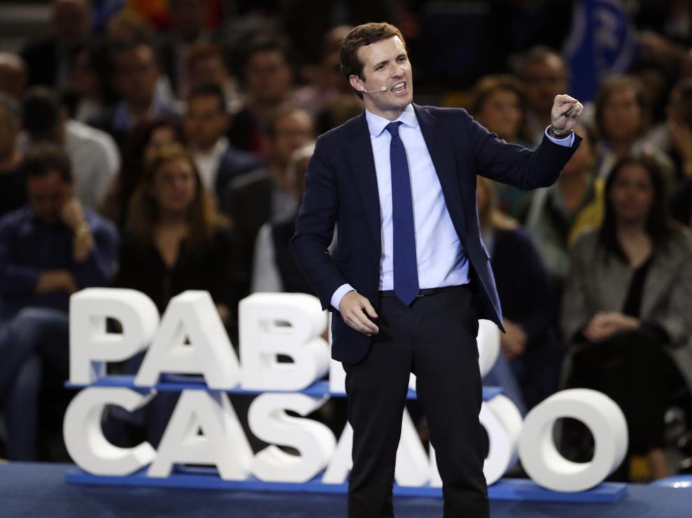 Pablo Casado en el cierre de campaña del PP en Madrid.