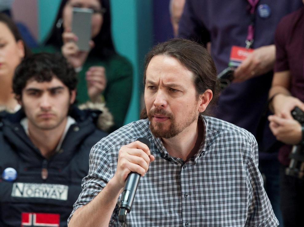 El líder de Podemos, Pablo Iglesias, durante un acto electoral celebrado este jueves en Vigo.