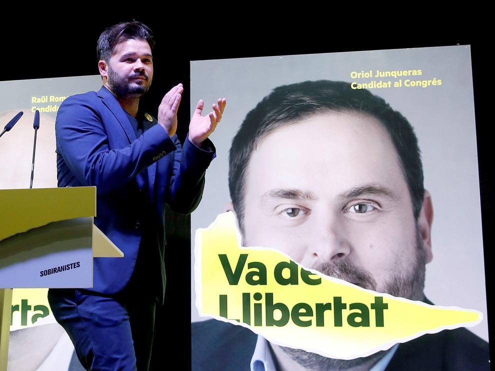 Gabriel Rufián celebra los resultados electorales