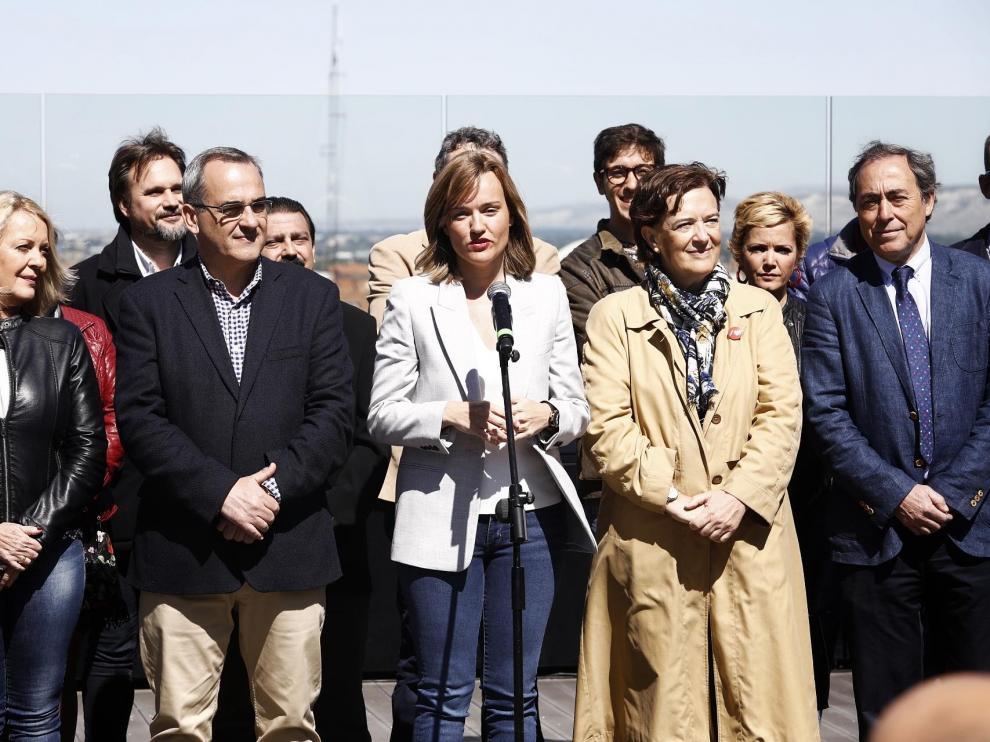 La candidata socialista a la alcaldía de Zaragoza, Pilar Alegría, durante la presentación del programa electoral.