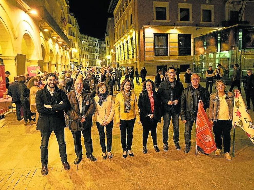 De izquierda a derecha, los candidatos a la alcaldía por Vox PAR, CHA, PP, Ganar, Cs, PSOE y Espacio Municipalista.