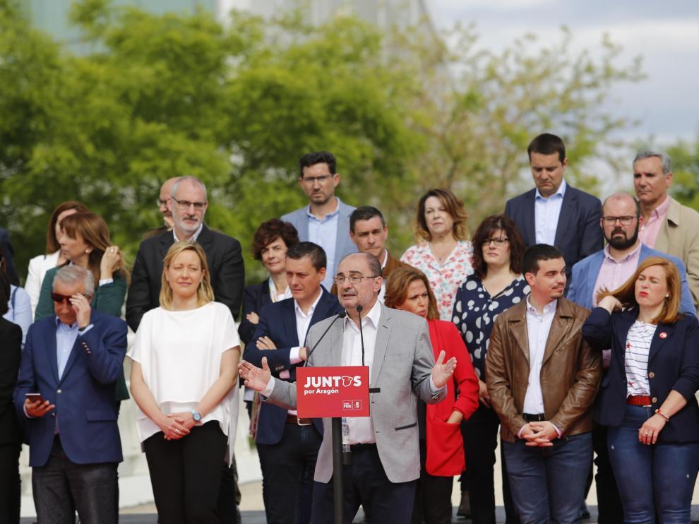 Lambán, en un acto celebrado este viernes en la Expo para presentar las listas del PSOE-Aragón