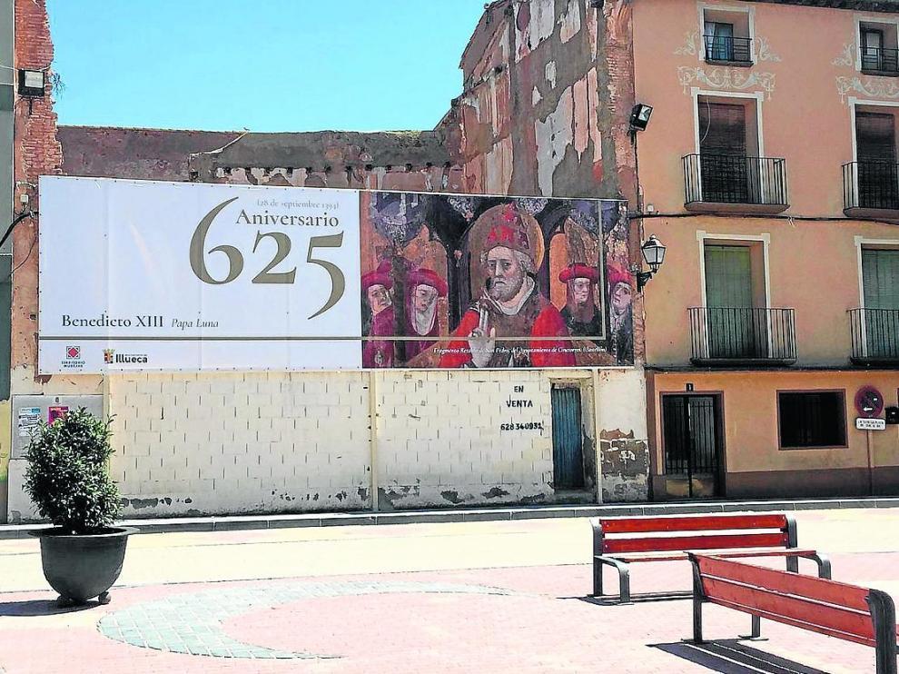 Un anuncio del 625 aniversario del inicio del papado de Benedicto XIII en Illueca, su localidad natal.