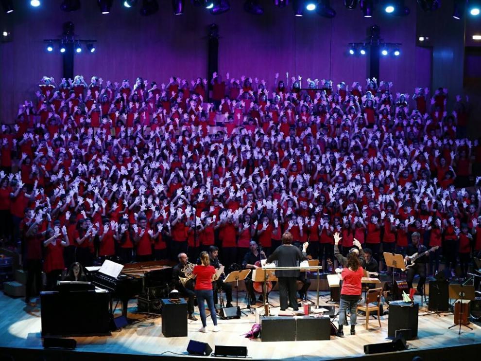 Un momento del concierto Cantania de hoy, en la Sala Mozart del Auditorio de Zaragoza.