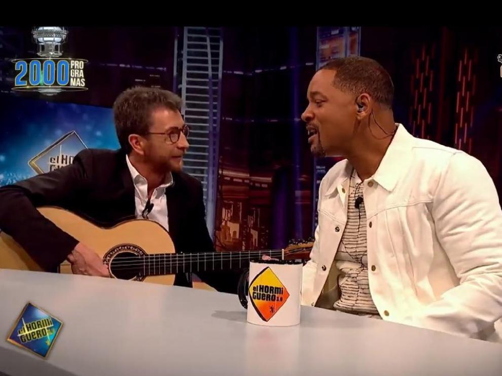 Pablo Motos, junto al actor Will Smith, durante el programa 2.000 de 'El Hormiguero', que se emite este lunes por la noche.