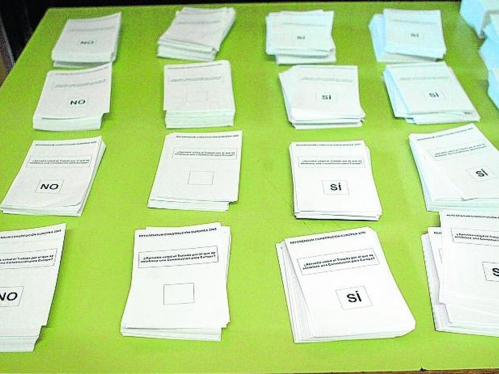 Papeletas del último referéndum celebrado