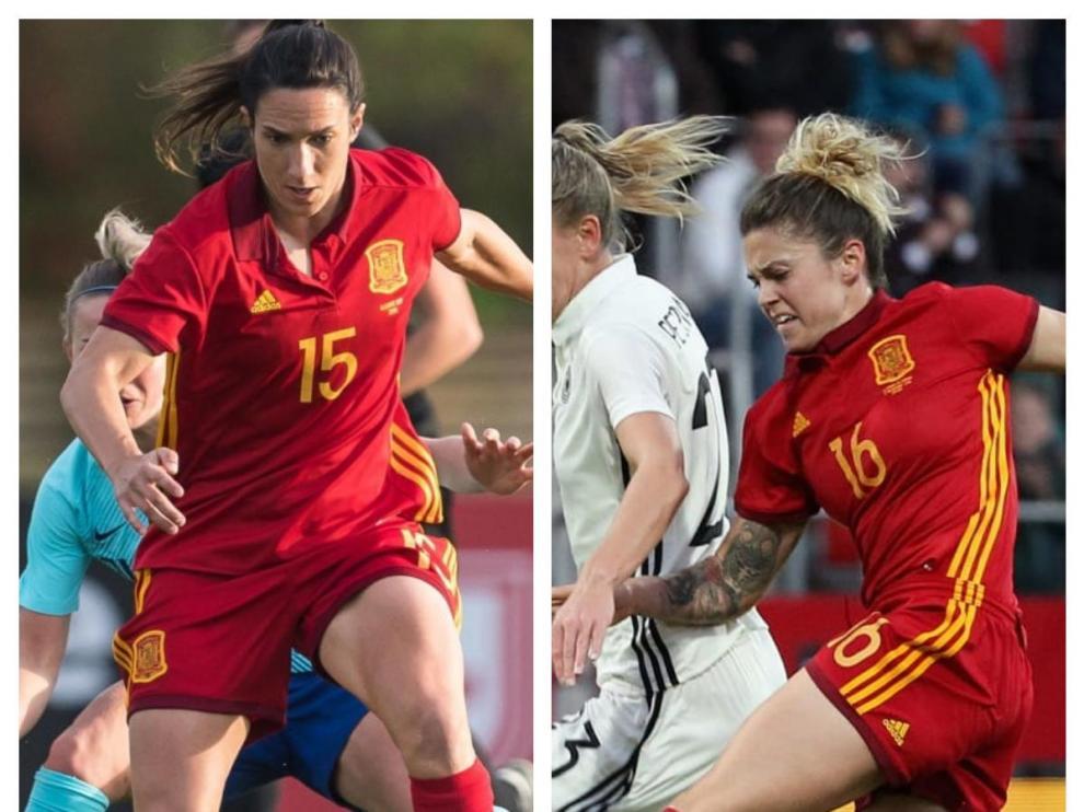 Silvia Meseguer y Mapi León, con la selección española.