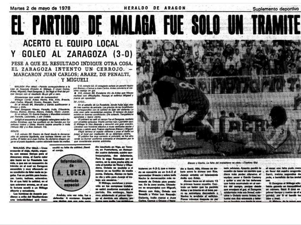 Cabecera de la crónica de HERALDO DE ARAGÓN del Málaga-Real Zaragoza de 1978, precedente del de este viernes 24 de mayo de 2019 en Segunda División.