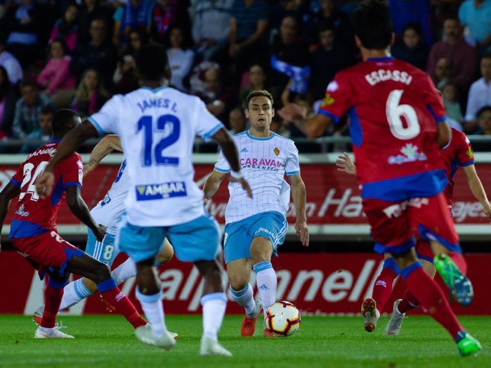 Un lance del partido Numancia-Real Zaragoza jugado en la primera vuelta en Soria, con victoria castellana por 1-0.