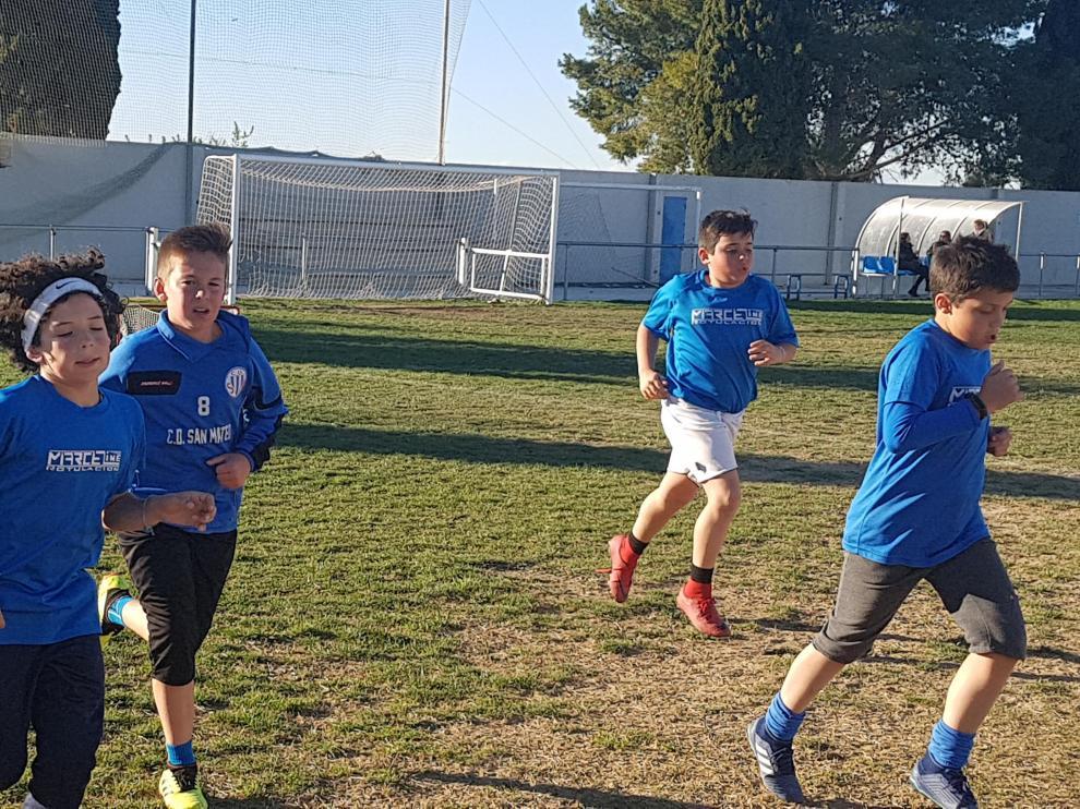 Imagen del campo de fútbol de San Mateo de Gállego.