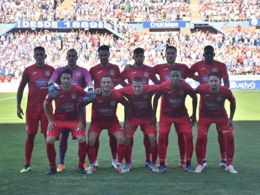 Once inicial del Fuenlabrada FC, este domingo en el Colombino de Huelva, donde han hecho historia ascendiendo por primera vez al fútbol profesional, a la Segunda División.