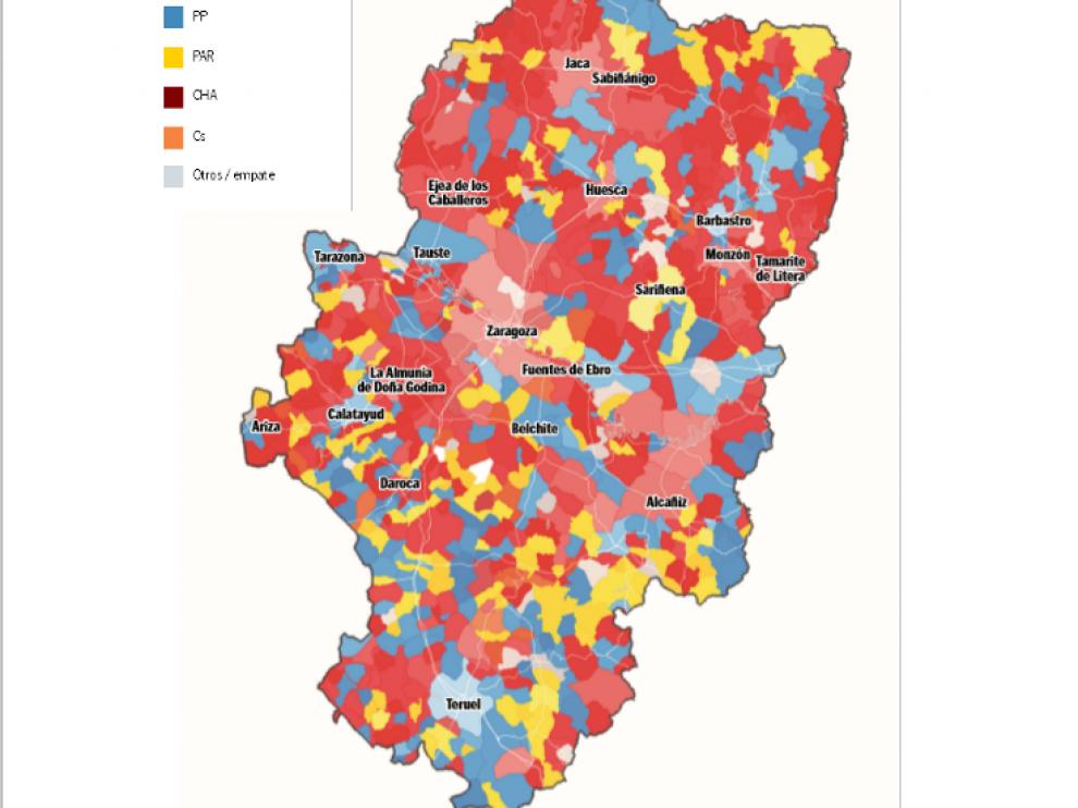 Mapa Provincia De Huesca Pueblos.Las Elecciones Municipales Tambien Tinen De Rojo El Mapa De