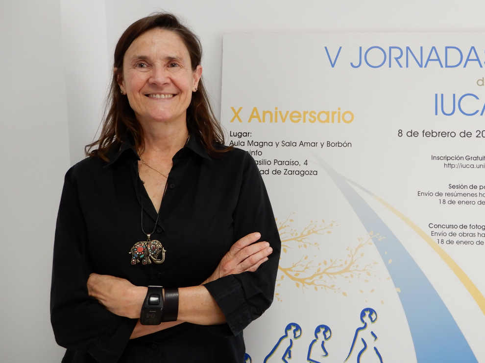Gloria Cuenca, primera mujer catedrática de Paleontología de la Universidad de Zaragoza.
