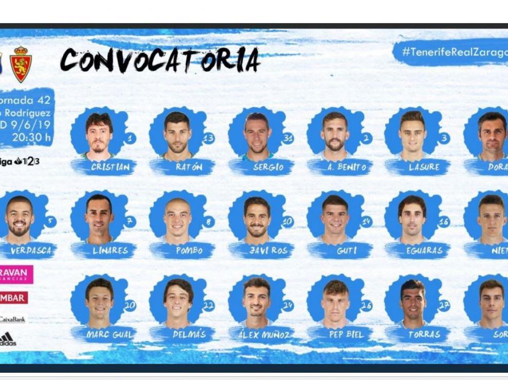 Los 19 convocados del Real Zaragoza para el viaje a Tenerife este fin de semana, donde concluye la liga.
