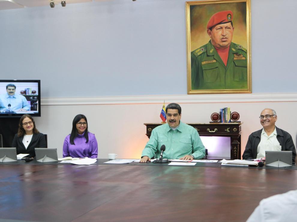 Nicolás Maduro durante la reunión en el Palacio Presidencial, en Carcas.