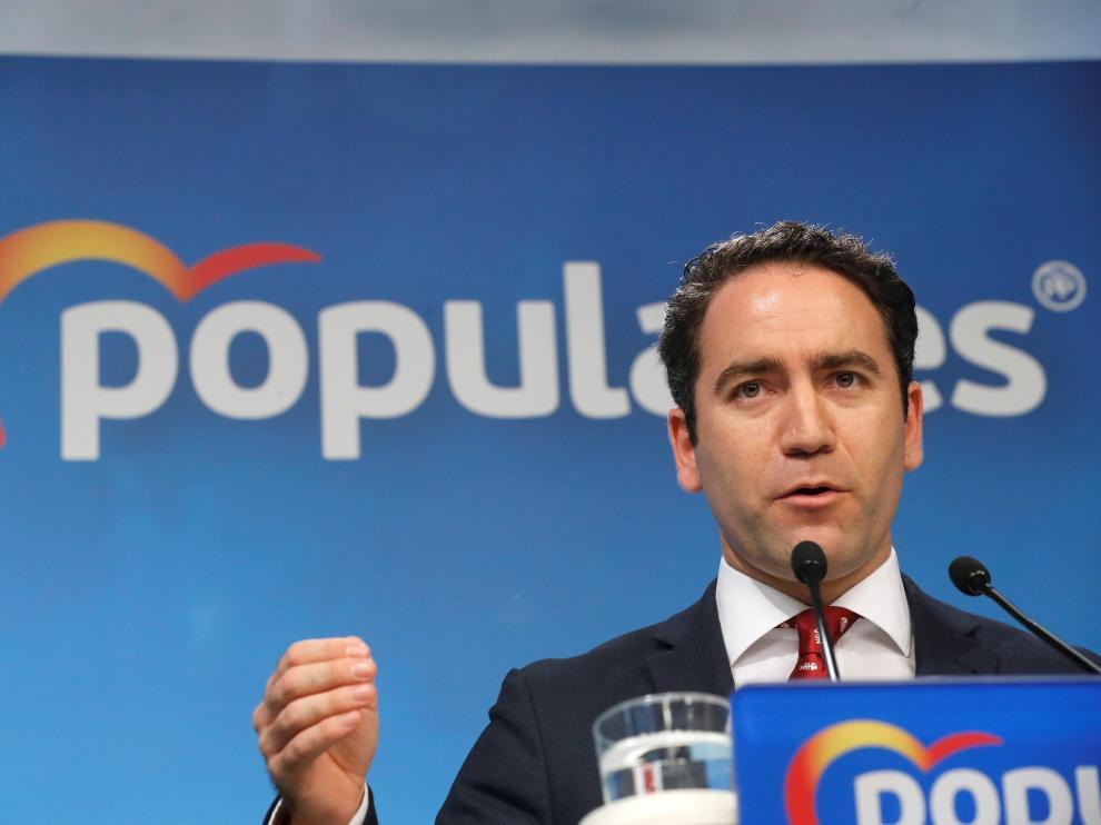 El secretario general del PP, Teodoro García Egea, en rueda de prensa.