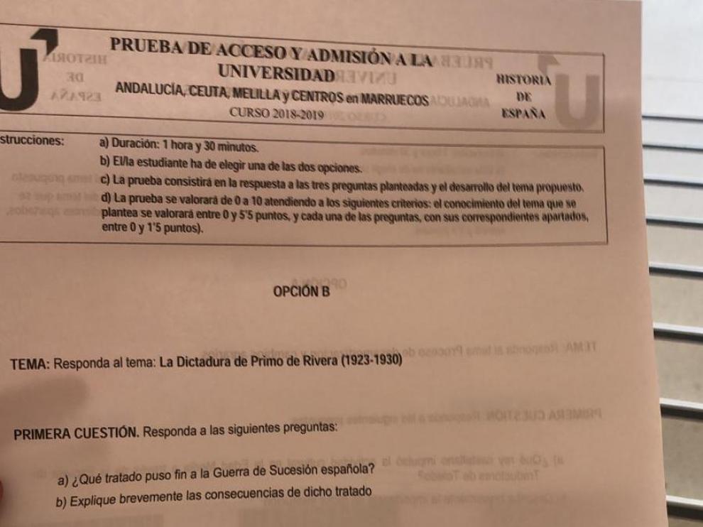 Examen de Historia de selectividad 2019 en Andalucía.