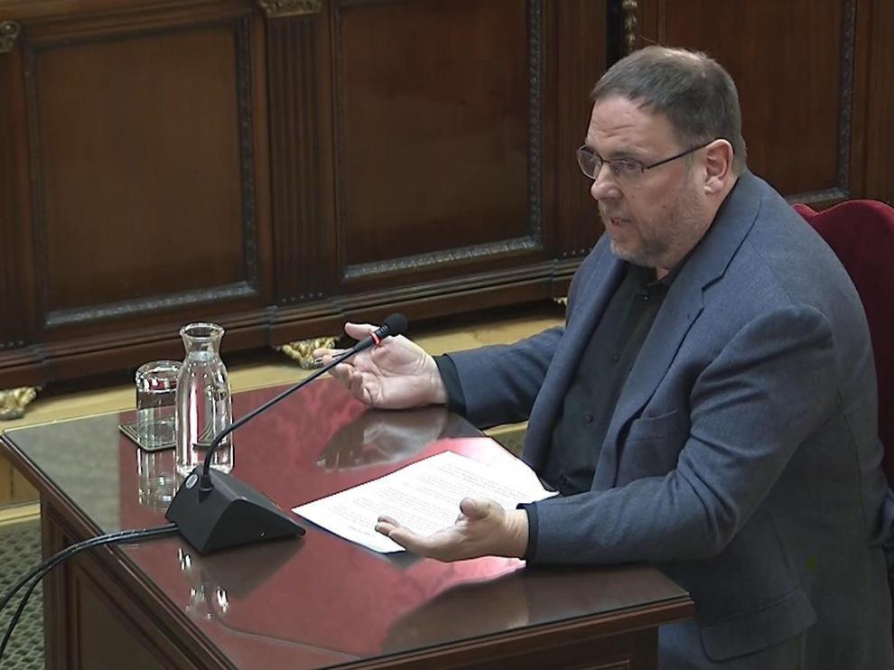 El exvicepresidente catalán Oriol Junqueras, en el Tribunal Supremo.