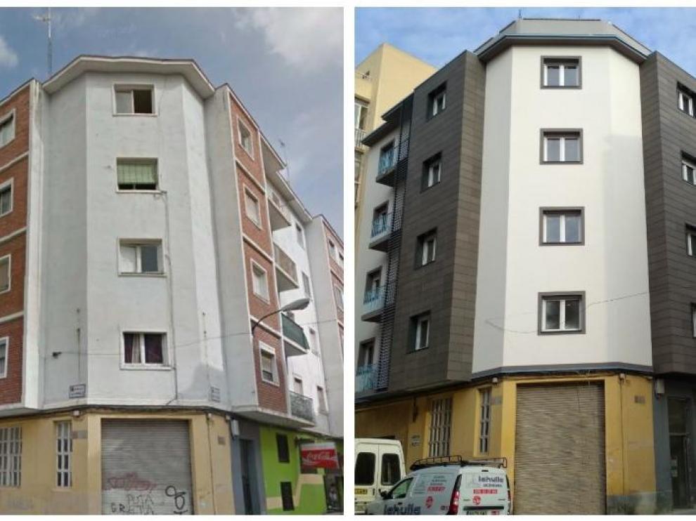 El antes y el después de una rehabiltiación en la calle de Santa Rosa, 14, en el barrio de San José de Zaragoza.