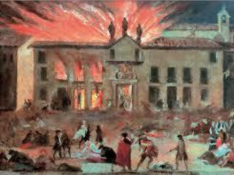 Goya. El Coliseo de Comedias de Zaragoza en llamas.