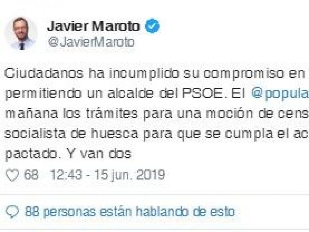 Maroto (PP) anuncia una moción de censura en Huesca por la traición de Cs