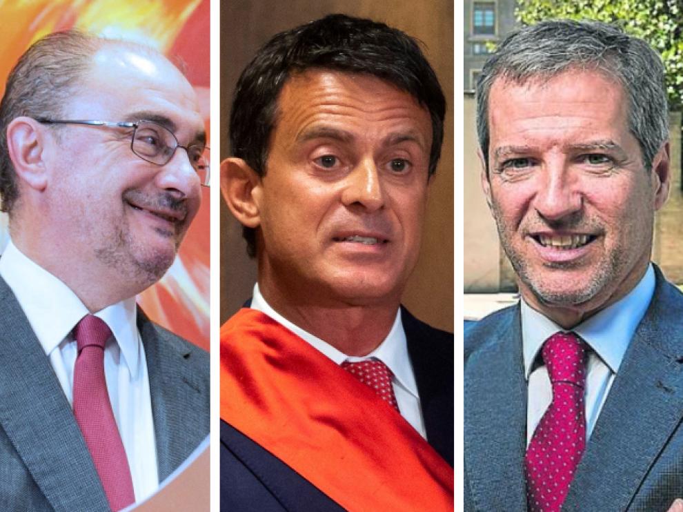 Combo de imágenes de Lambán, Valls y Pérez Calvo