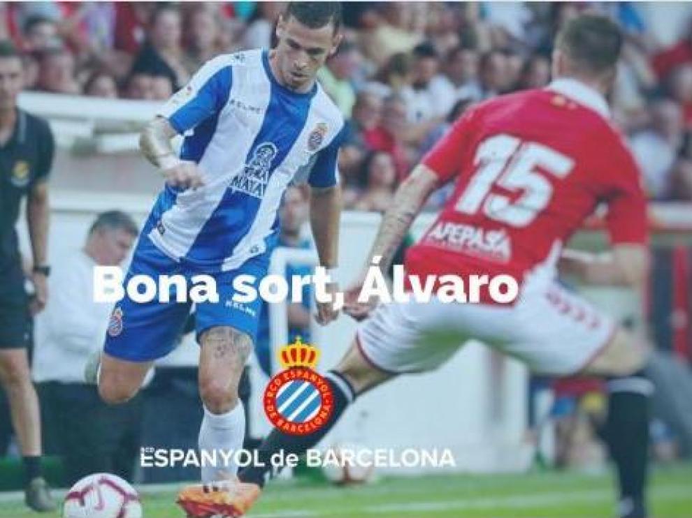Imagen con la que el RCD Espanyol de Barcelona despide a Álvaro Vázquez en su página web.