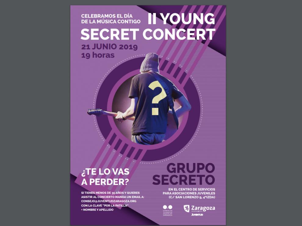 Cartel del II Secret Young Concert que se celebrará en Zaragoza.